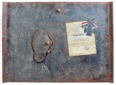 ORIGINAL WWI FIRST WORLD WAR GERMAN ANTI-SNIPER PLATE WITH DECORATION