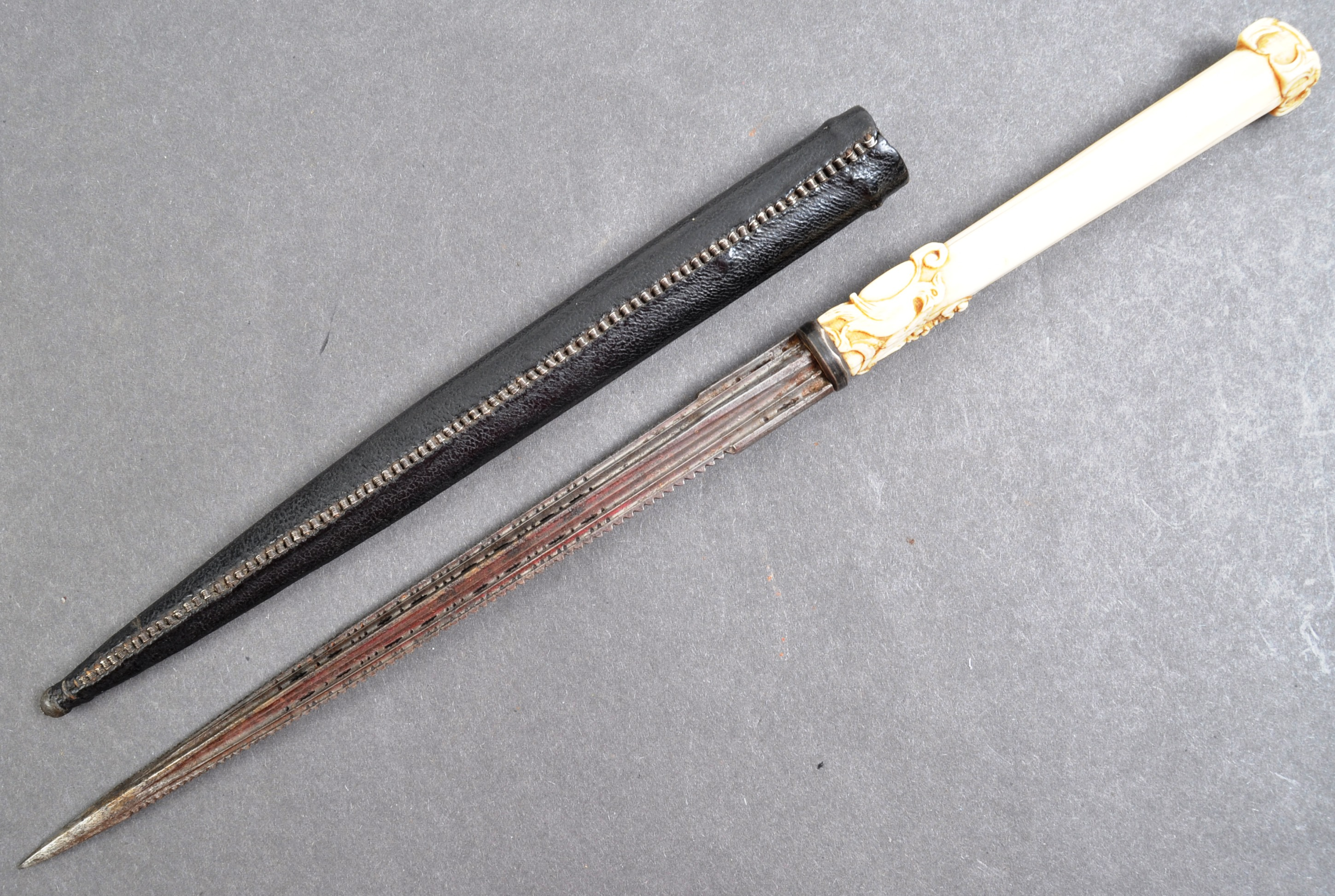 SOUTH EUROPEAN STILETTO DAGGER WITH IVORY HANDLE