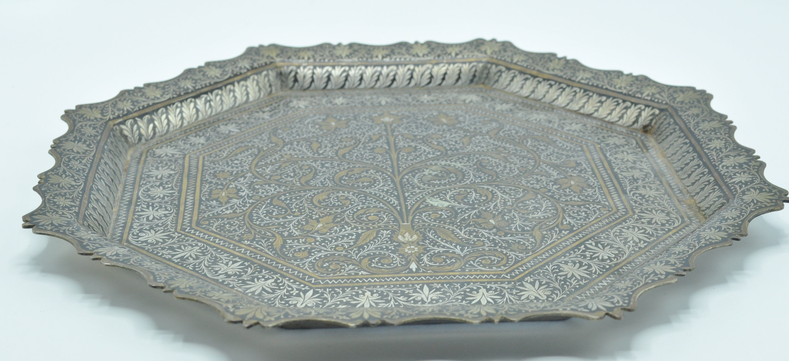 ISLAMIC SILVER PLATE AND BRASS CARD TRAY SALVER - Image 4 of 6