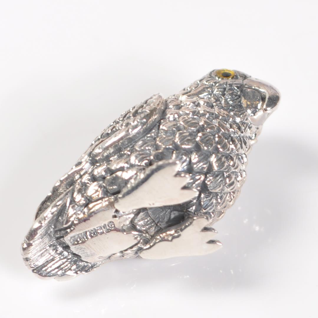 STAMPED STERLING SILVER PARROT PIN CUSHION. - Image 4 of 4