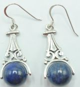 PAIR OF STAMPED 925 SILVER AND LAPIS LAZULI EARRINGS.