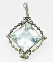 ANTIQUE AQUAMARINE & DIAMOND NECKLACE PENDANT