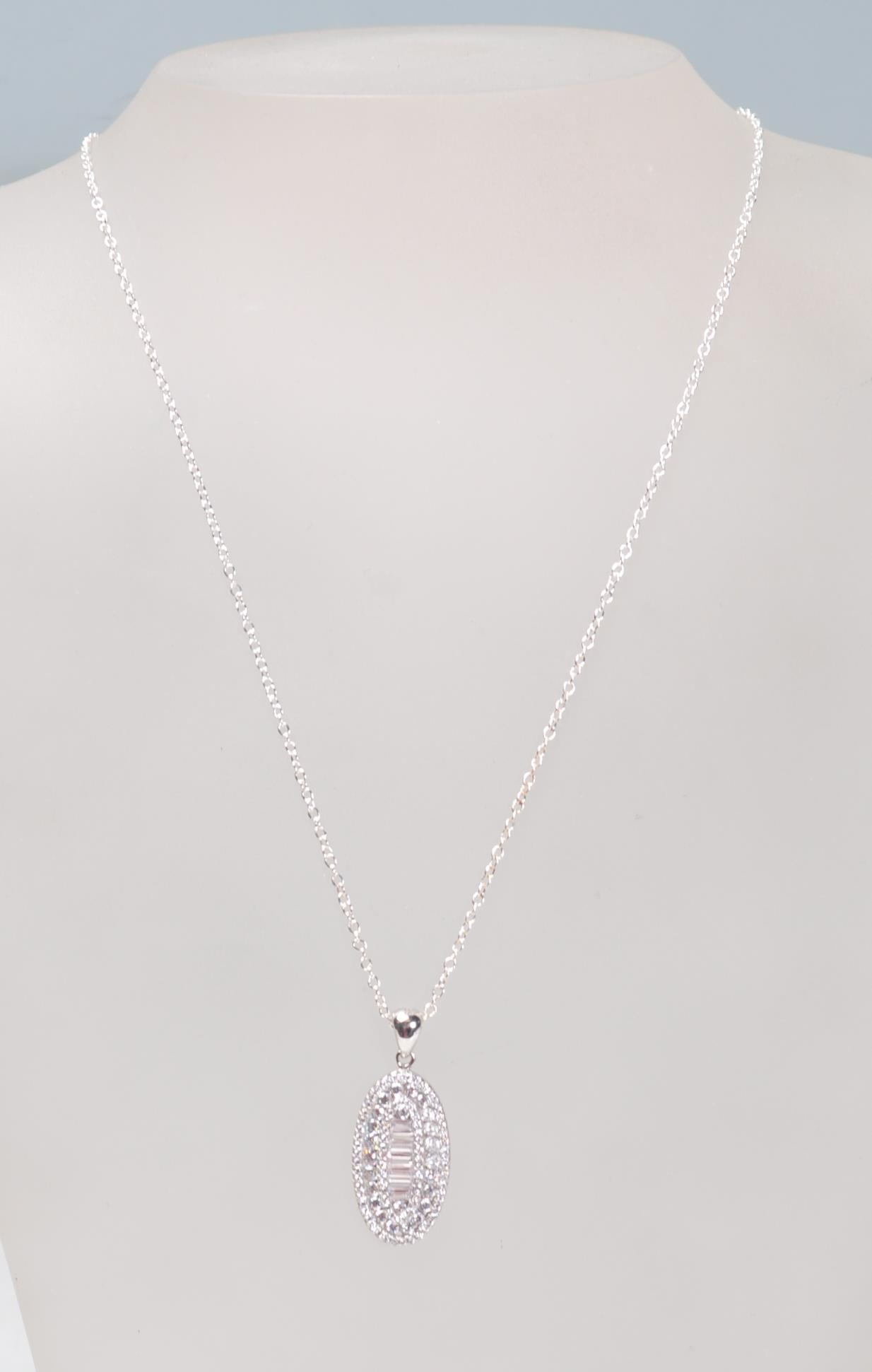 STAMPED 925 SILVER PENDANT NECKLACE SET WITH CZ'S.