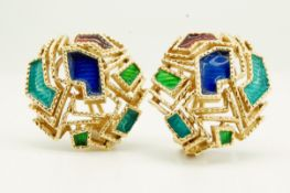 PAIR OF 18CT GOLD & ENAMEL EAR CLIPS