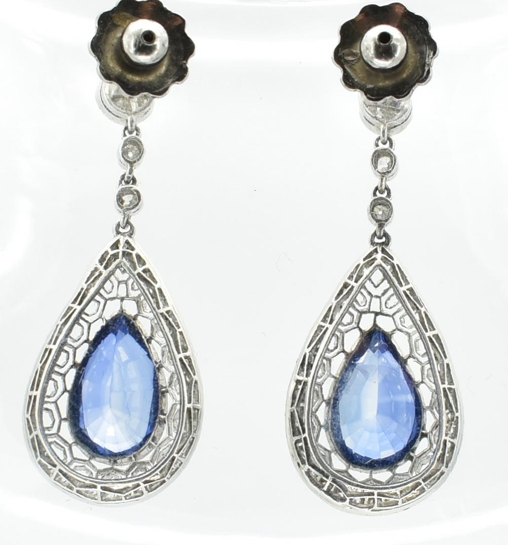 PAIR OF SAPPHIRE & DIAMOND PENDANT EARRINGS - Image 4 of 4
