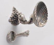 STAMPED STERLING 925 SILVER SALT CELLAR IN THE FORM OF A FISH.