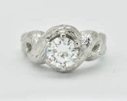 FRENCH 18CT WHITE GOLD & DIAMOND SOLITAIRE RING