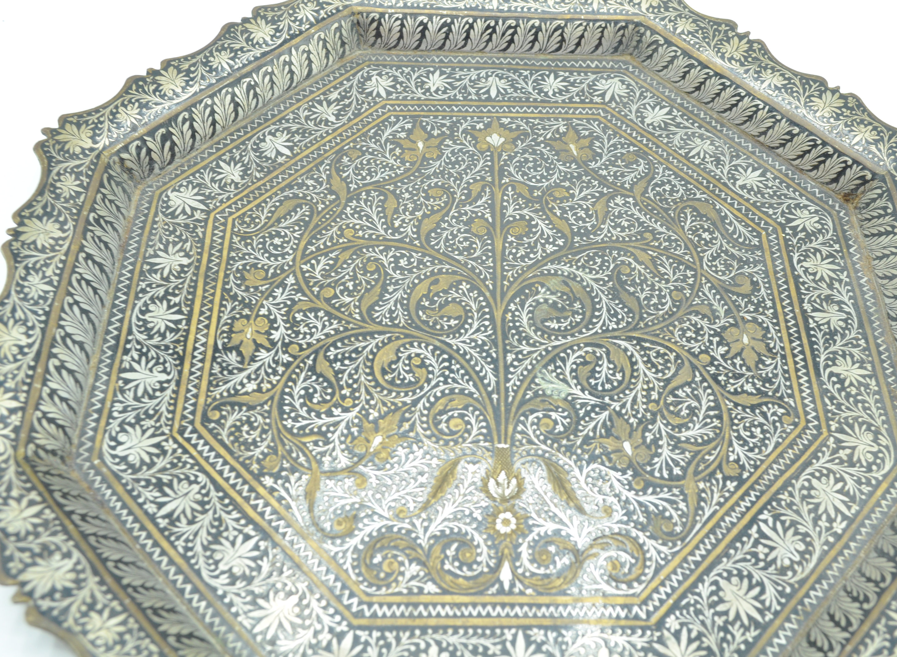 ISLAMIC SILVER PLATE AND BRASS CARD TRAY SALVER - Image 3 of 6