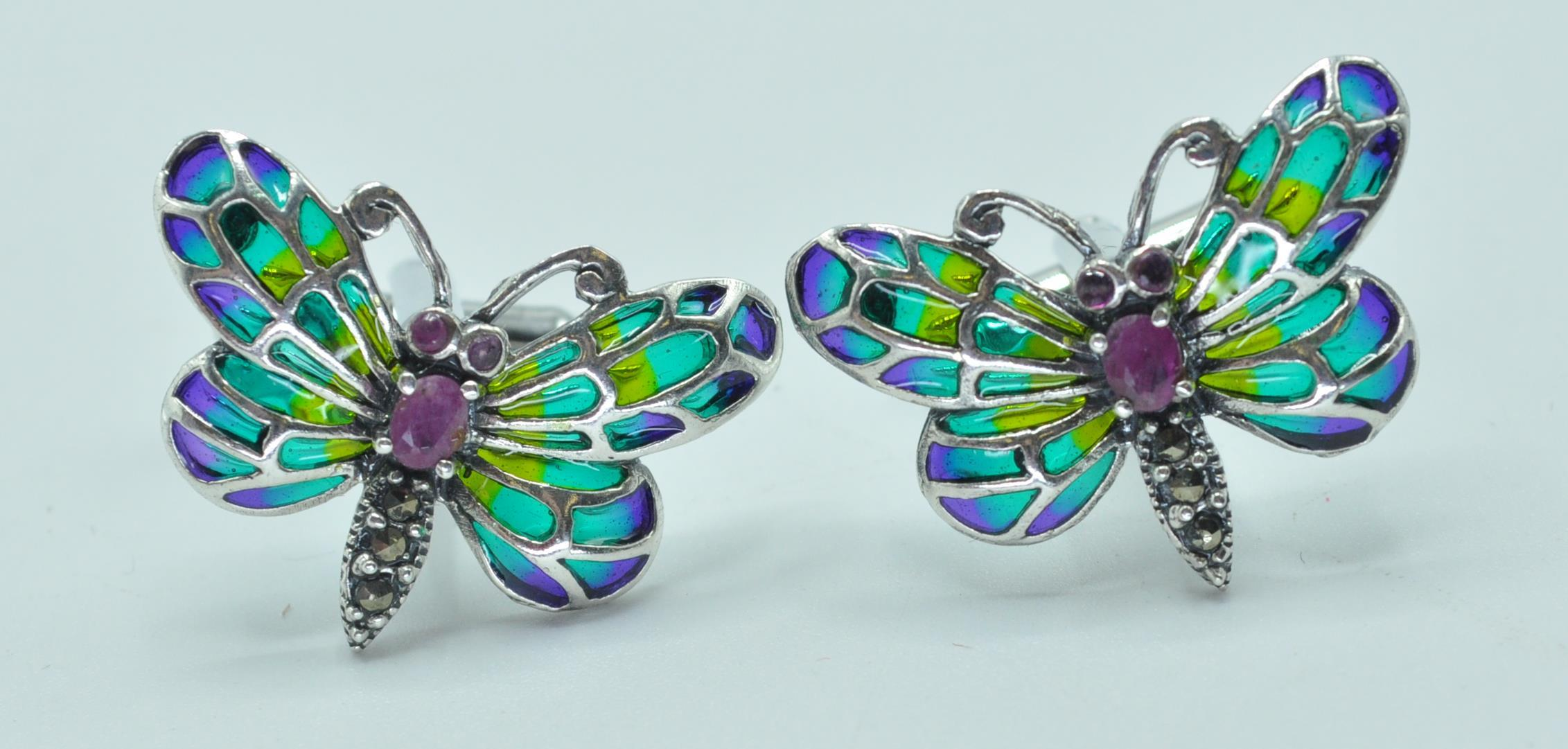 PAIR OF STAMPED 925 SILVER BUTTERFLY CUFFLINKS.