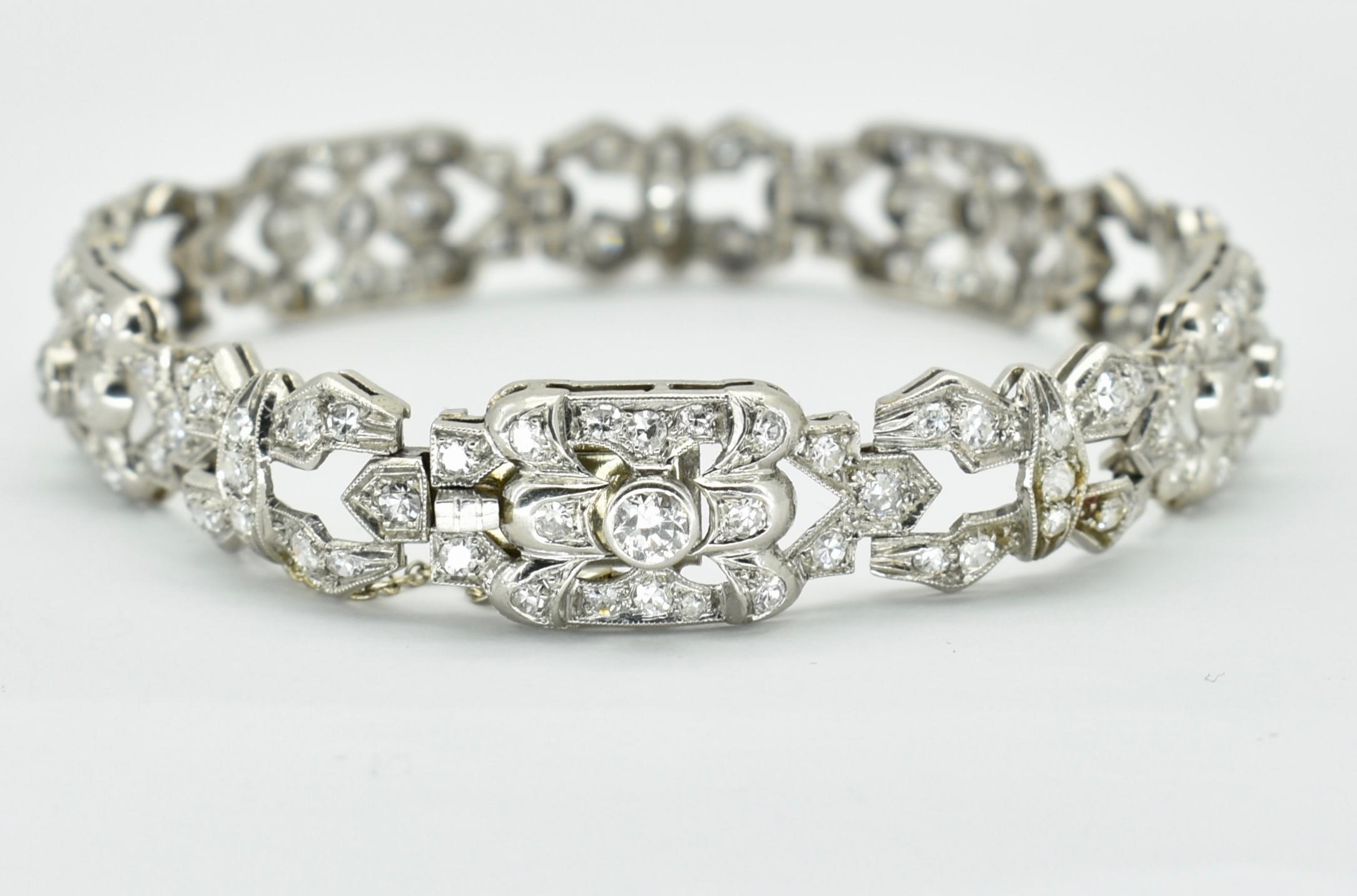 FRENCH ANTIQUE 18CT WHITE GOLD PLATINUM & DIAMOND BRACELET - Image 3 of 3