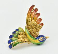 18CT GOLD ENAMEL SAPPHIRE DIAMOND BIRD BROOCH - MAUBOUSSIN