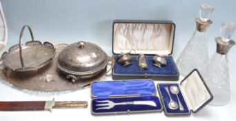 GROUP OF SILVER AND SILVER PLATED ITEMS