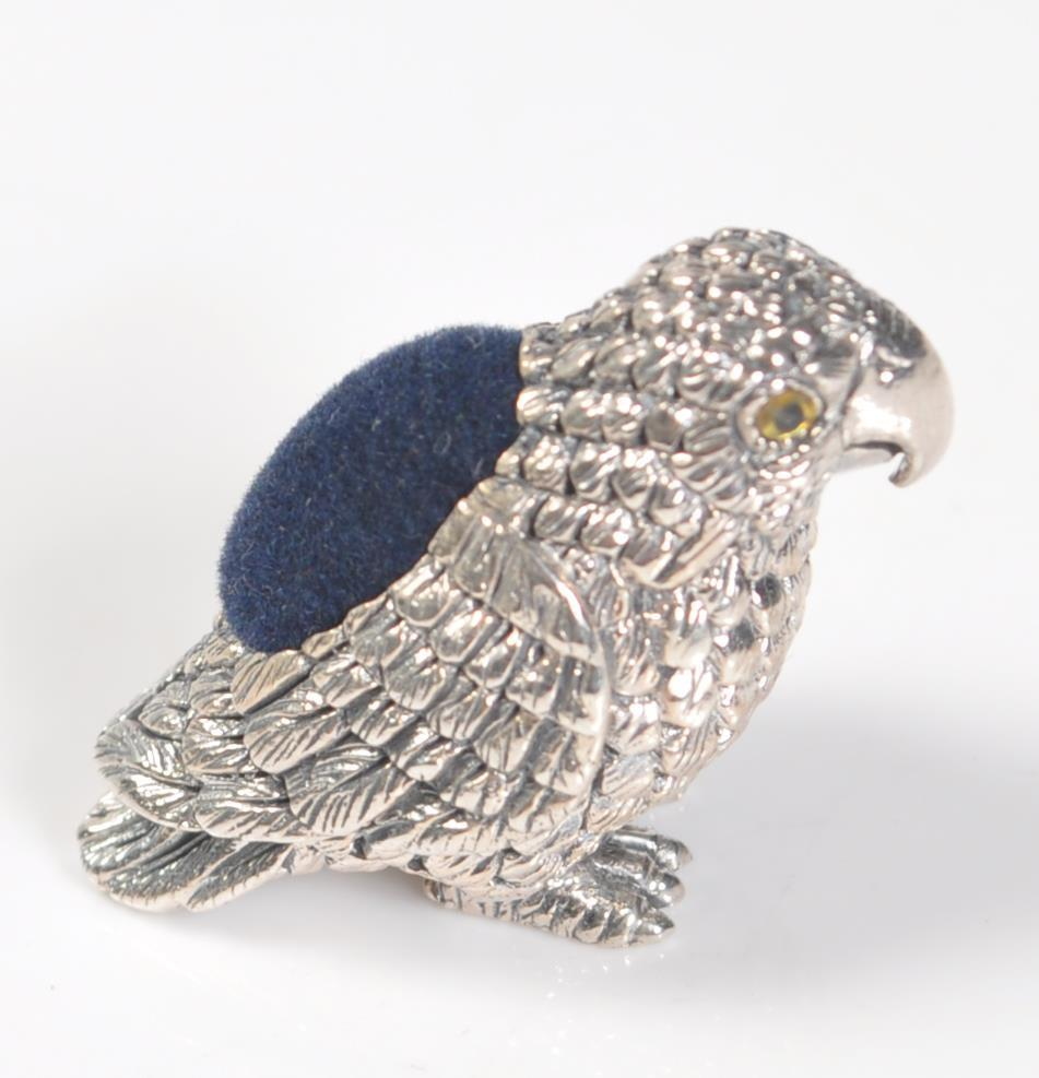 STAMPED STERLING SILVER PARROT PIN CUSHION. - Image 3 of 4