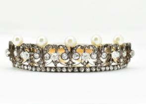 FRENCH BELLE EPOQUE 18CT GOLD AND PEARL BANGLE