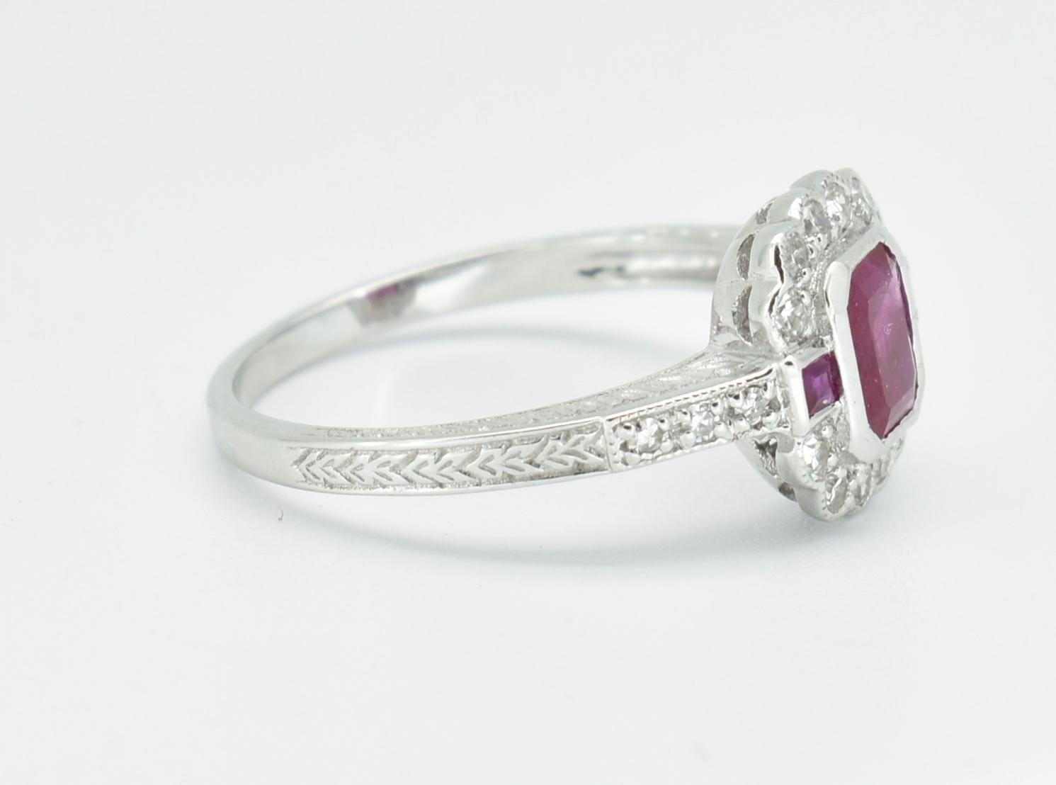 18CT WHITE GOLD RUBY & DIAMOND RING - Image 3 of 5