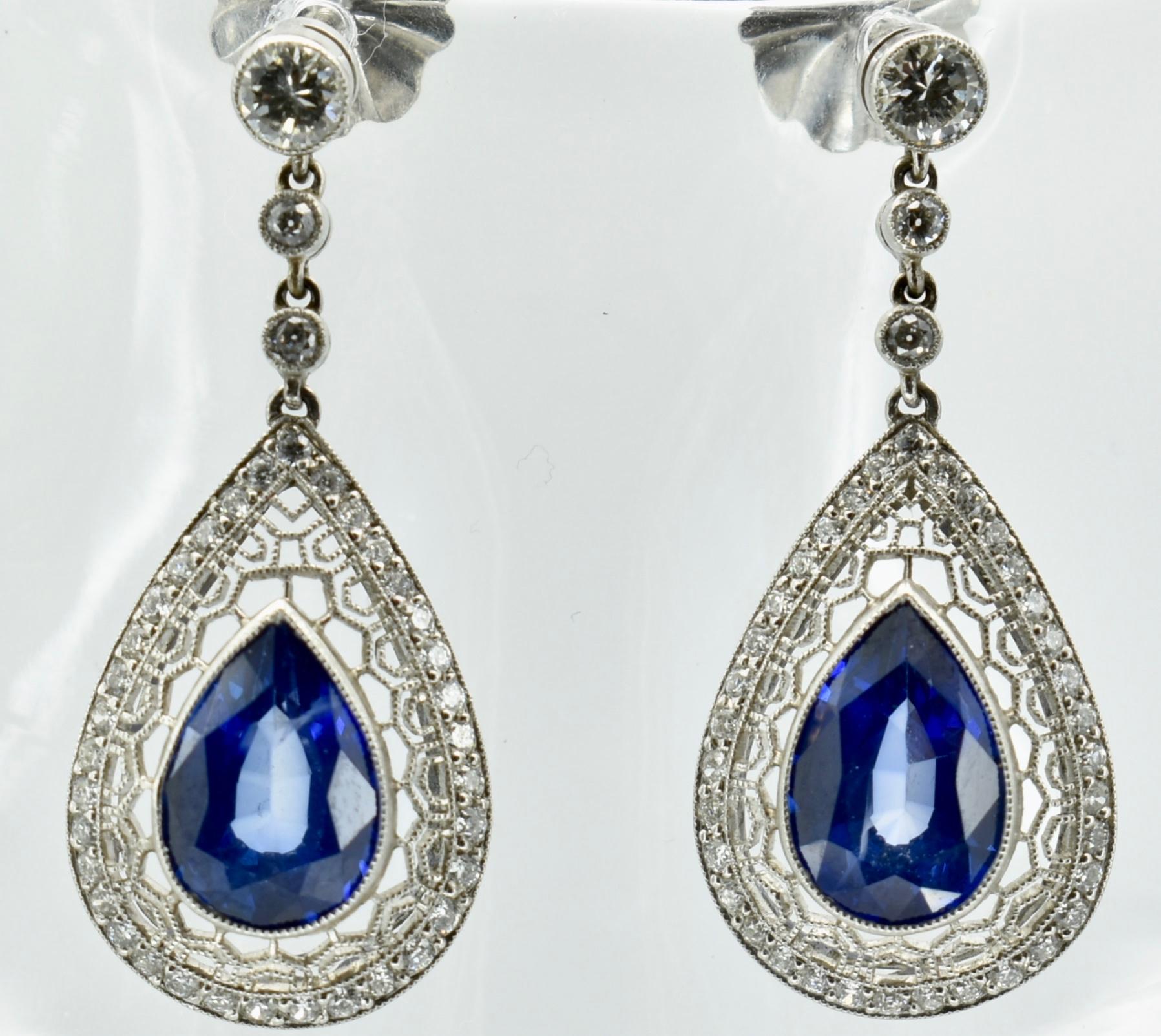 PAIR OF SAPPHIRE & DIAMOND PENDANT EARRINGS - Image 2 of 4