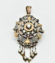 FRENCH 18CT GOLD & DIAMOND BROOCH PIN PENDANT