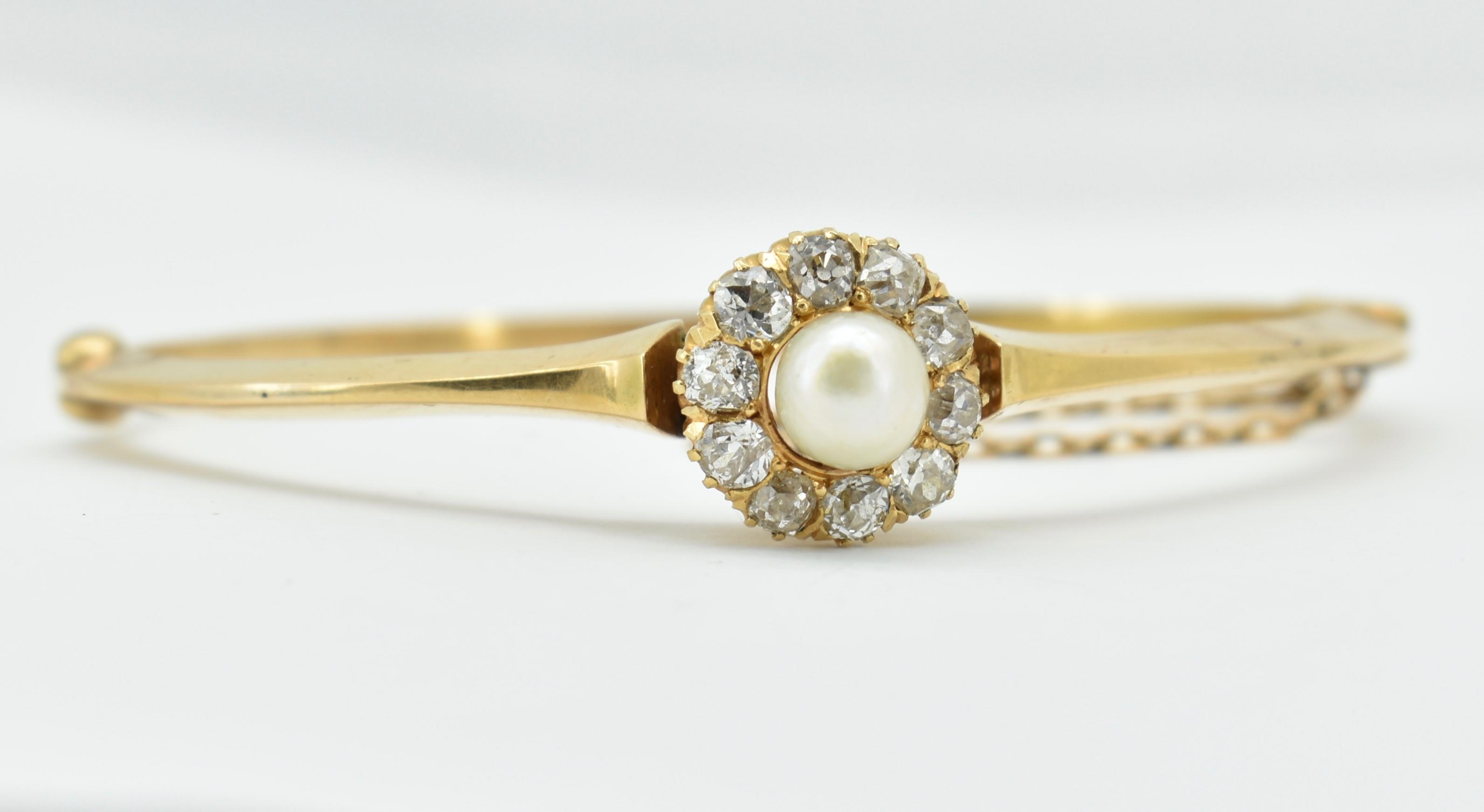 FRENCH 18CT GOLD DIAMOND & PEARL HINGED BANGLE