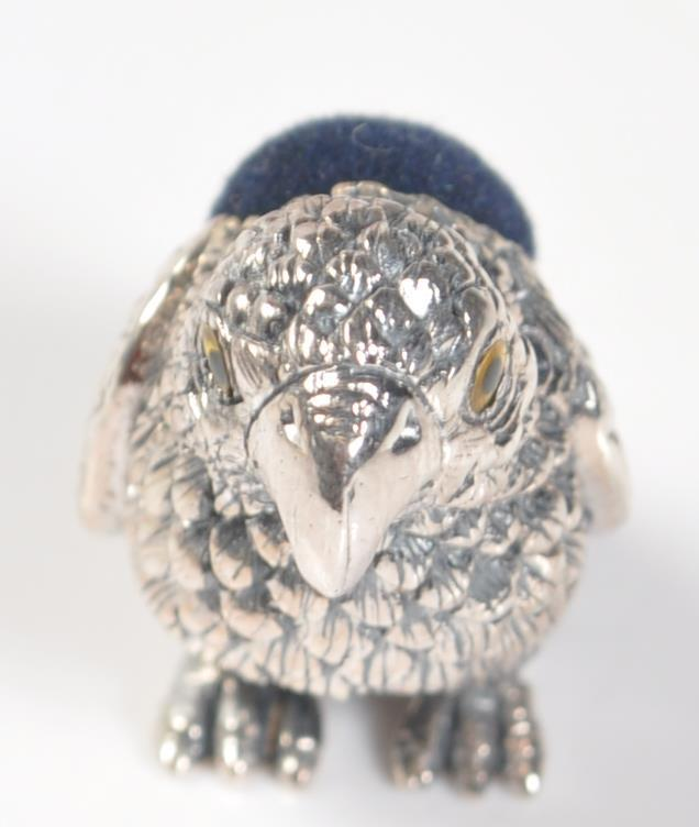 STAMPED STERLING SILVER PARROT PIN CUSHION. - Image 2 of 4