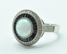 STAMPED 925 SILVER OPALITE AND CZ SET ART DECO STYLE RING.