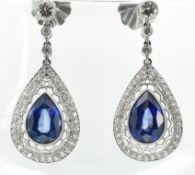 PAIR OF SAPPHIRE & DIAMOND PENDANT EARRINGS