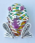 STAMPED 925 SILVER PLIQUE A JOUR AND MARCASITE FROG BROOCH.
