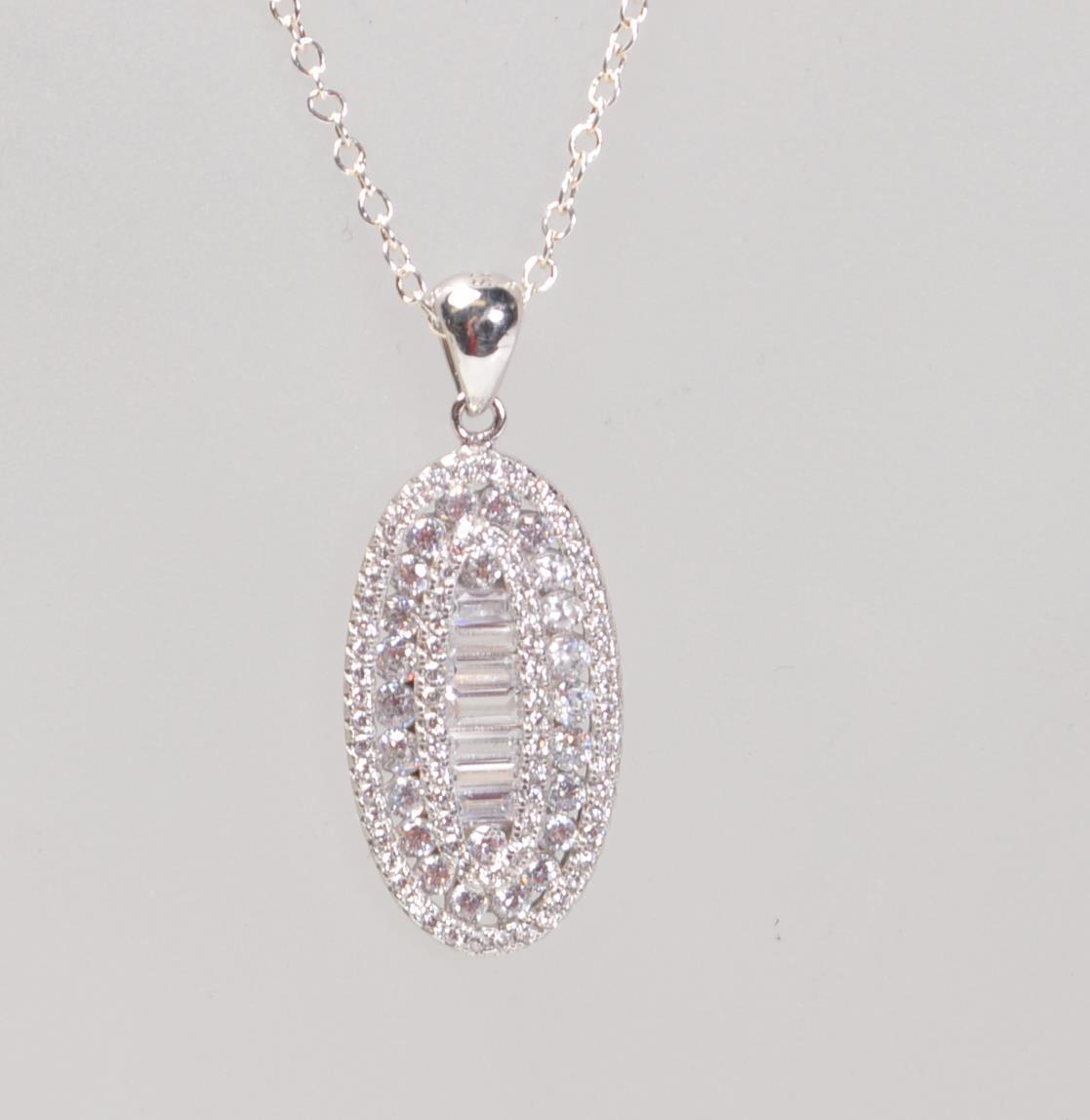 STAMPED 925 SILVER PENDANT NECKLACE SET WITH CZ'S. - Image 4 of 8