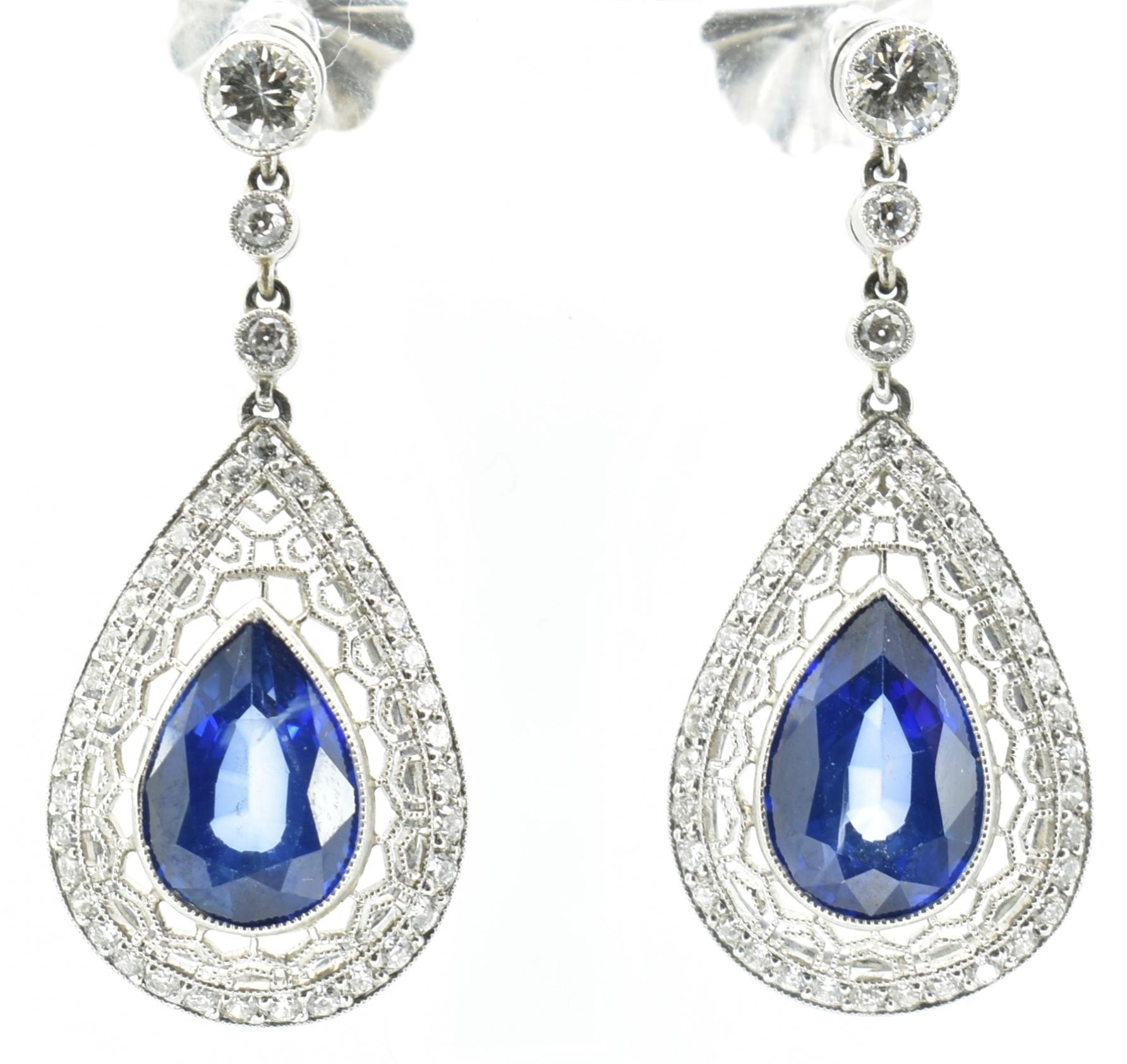 PAIR OF SAPPHIRE & DIAMOND PENDANT EARRINGS - Image 3 of 4