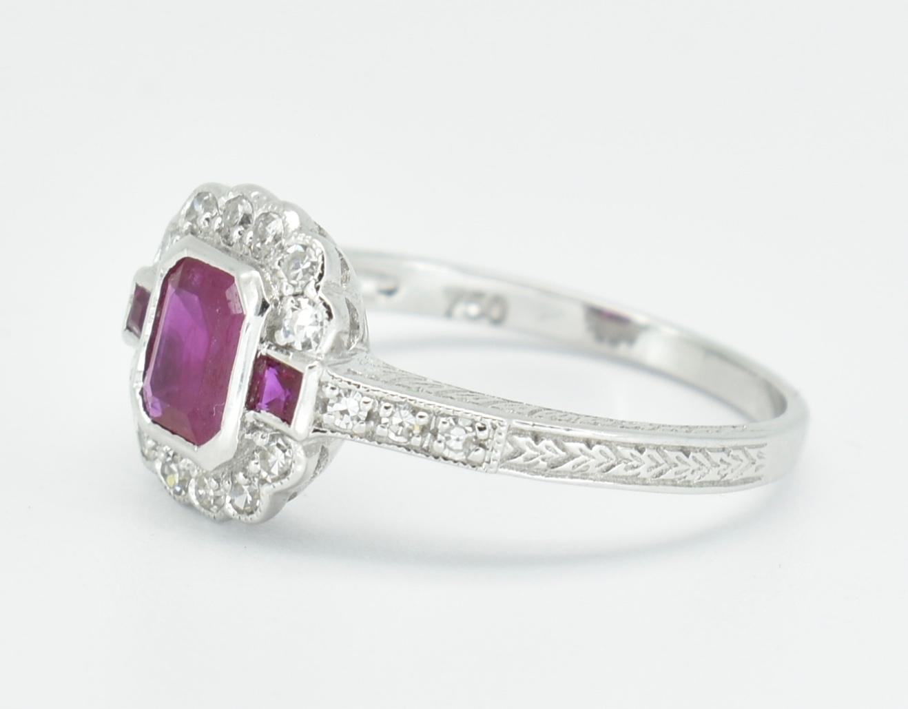 18CT WHITE GOLD RUBY & DIAMOND RING - Image 5 of 5