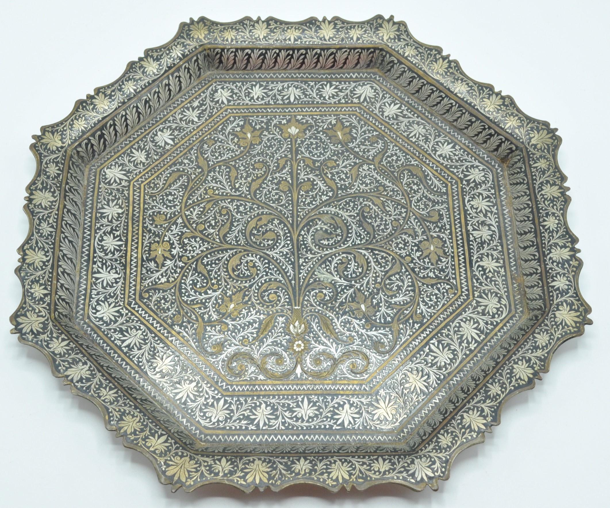 ISLAMIC SILVER PLATE AND BRASS CARD TRAY SALVER
