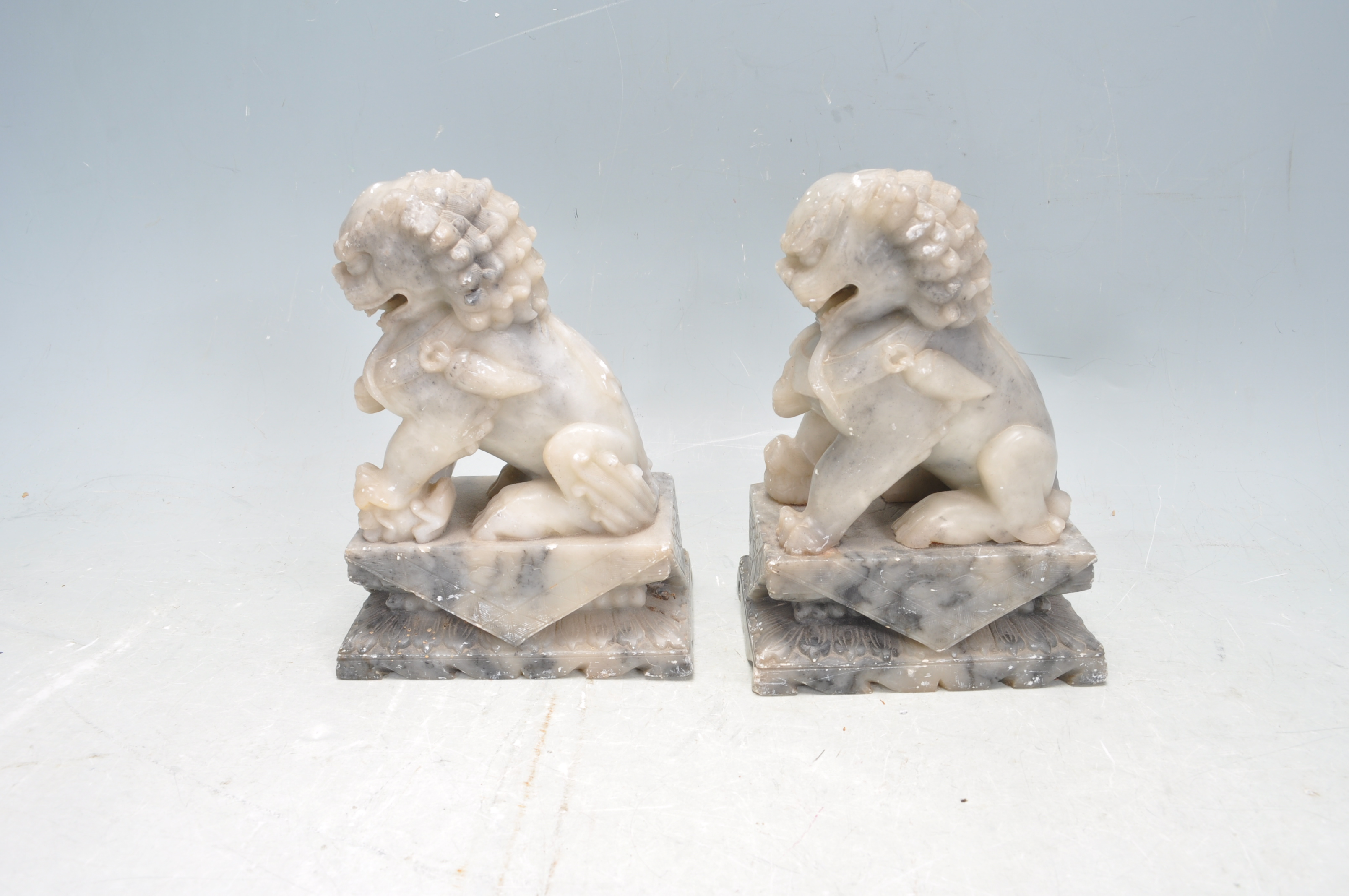 PAIR OF TWO 20TH CENTURY SOAPSTONE TEMPLE DOGS - Image 2 of 6