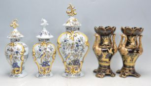 THREE 19TH CENTURY ITALIAN MAJOLICA STYLE VASES AND TWO CHINESE VASES