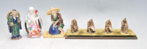 GROUP OF 20TH CENTURY CERAMIC CHINESE ORIENTAL FIGURINES