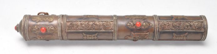 CHINESE ORIENTAL COPPER SCROLL HOLDER