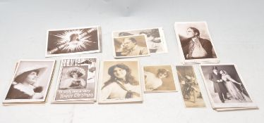COLLECTION OF ANTIQUE EDWARDIAN POSTCARDS FEATRUING ACTORS AND ACTRESSES.