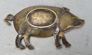 20TH CENTURY BRASS PIG PIN TRAY