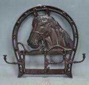 VINTAGE STYLE CAST METAL HORSES HEAD COAT HOOK