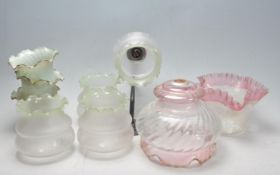 COLLECTION OF 19TH AND 20TH CENTURY GLASS LAMP SHADES