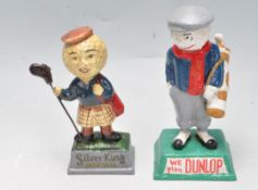 OF GOLFING INTEREST - TWO VINTAGE STYLE CAST METAL POLYCHROME FIGURINES