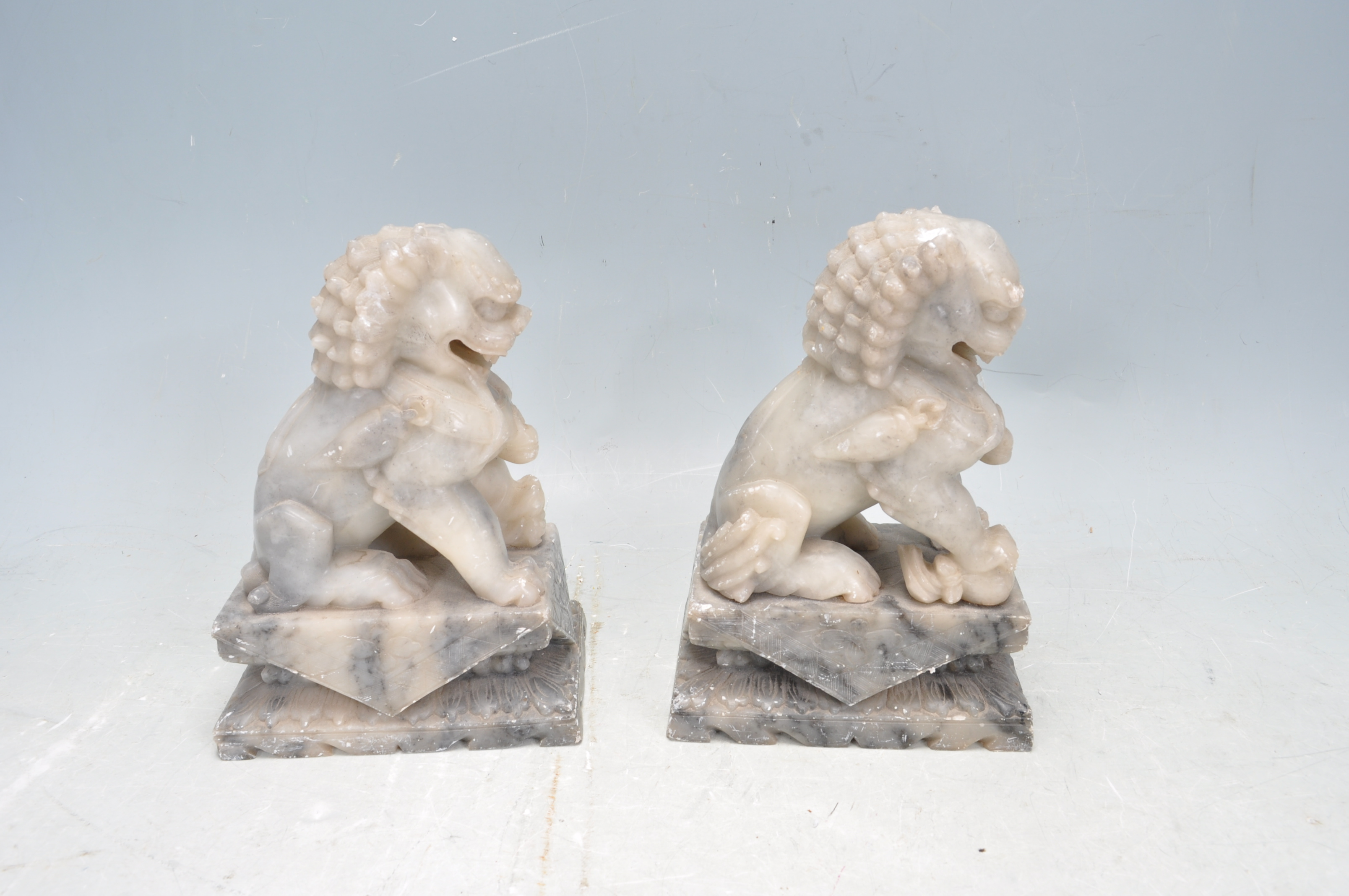 PAIR OF TWO 20TH CENTURY SOAPSTONE TEMPLE DOGS - Image 4 of 6