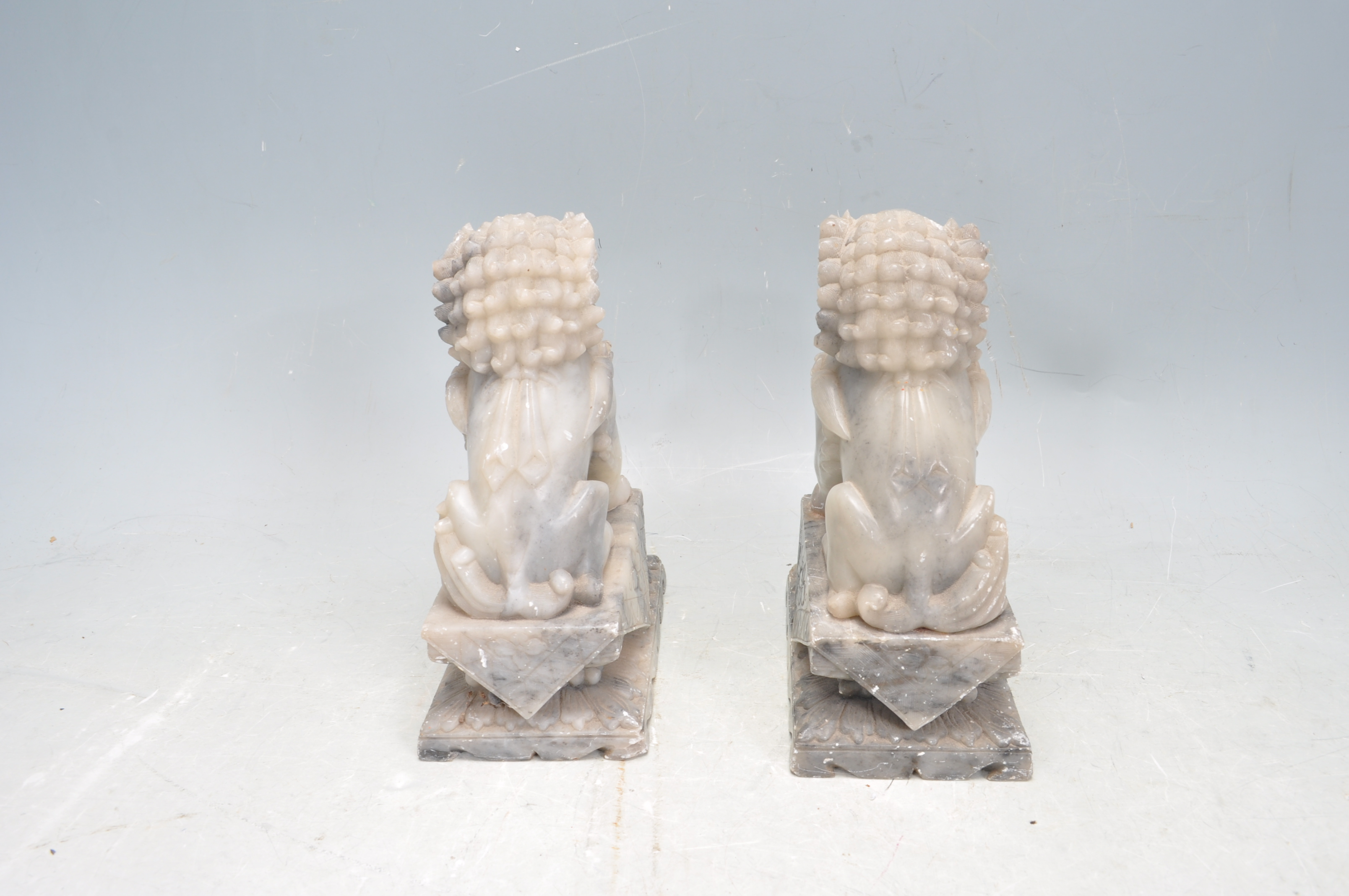 PAIR OF TWO 20TH CENTURY SOAPSTONE TEMPLE DOGS - Image 3 of 6