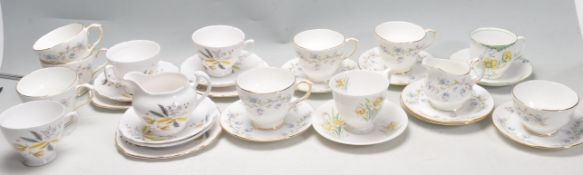 GROUP OF 20TH CENTURY FINE BONE CHINA CUPS AND SAUCERS