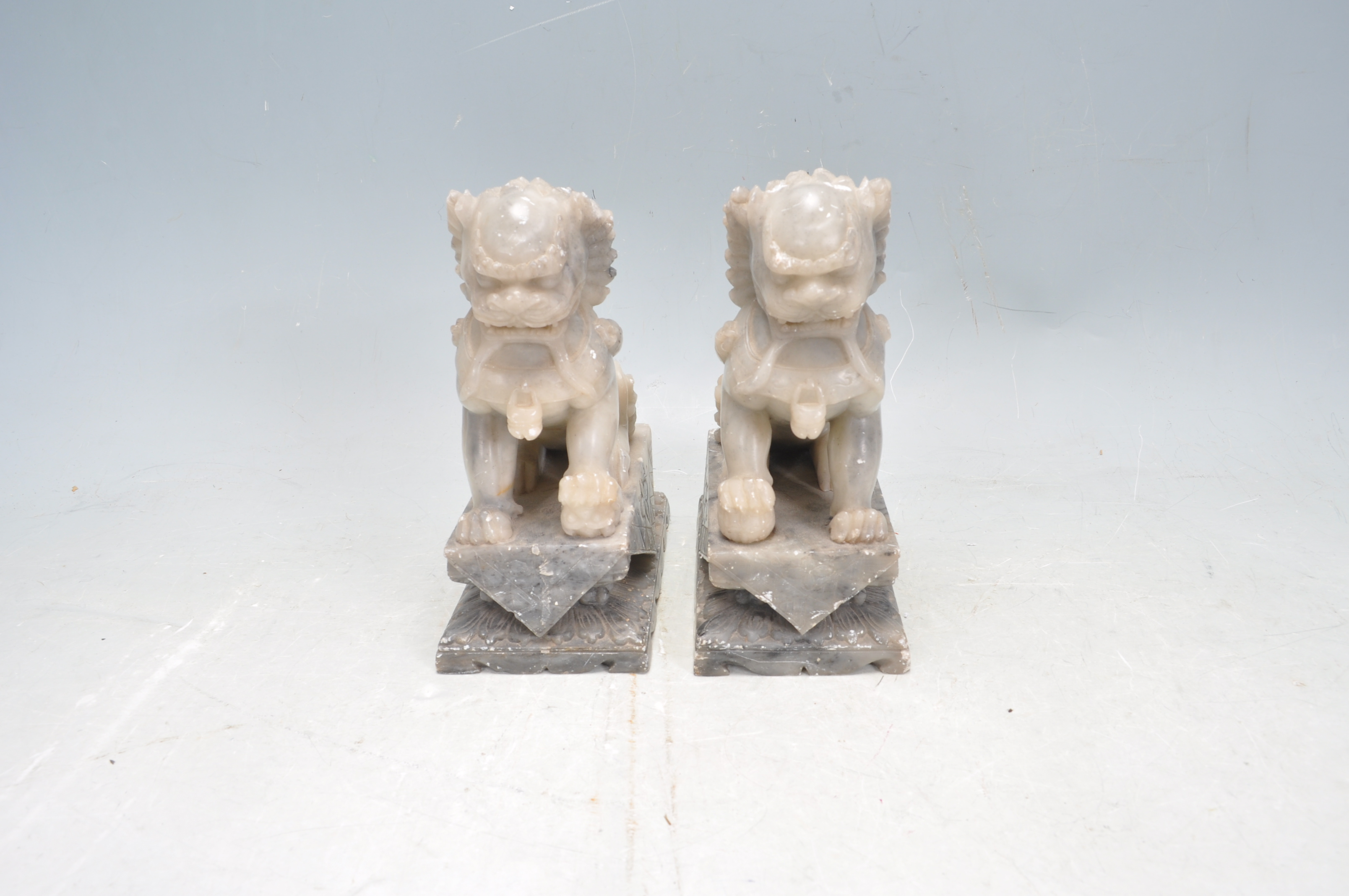 PAIR OF TWO 20TH CENTURY SOAPSTONE TEMPLE DOGS