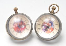 TWO VINTAGE STYLE FISH EYE LUCITE / GLASS DESK BALL CLOCKS
