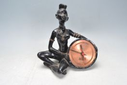 VINTAGE RETRO GASTONE AFRICAN FIGURAL CLOCK.