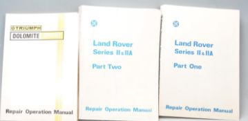THREE VINTAGE REPAIR OPERATING MANUALS - LAND ROVER AND TRIUMPH
