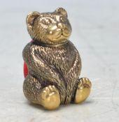 VINTAGE STYLE BRASS TEDDY BEAR PIN CUSHION.
