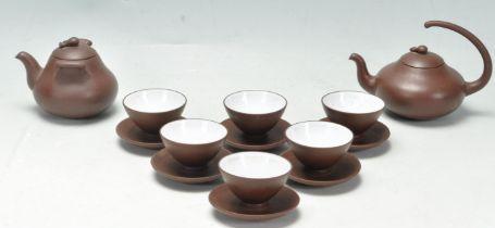 CHINESE BROWN CLAY YI XING TEA SET