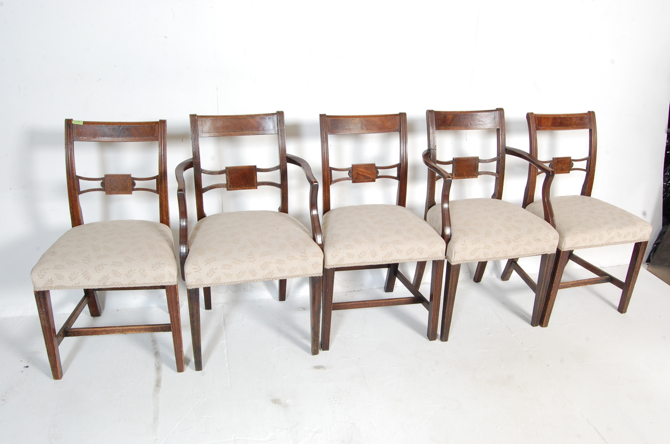 AN ANTIQUE EDWARDIAN REGENCY REVIVAL HARLEQUIN SET OF SIX CHAIRS - Image 2 of 7