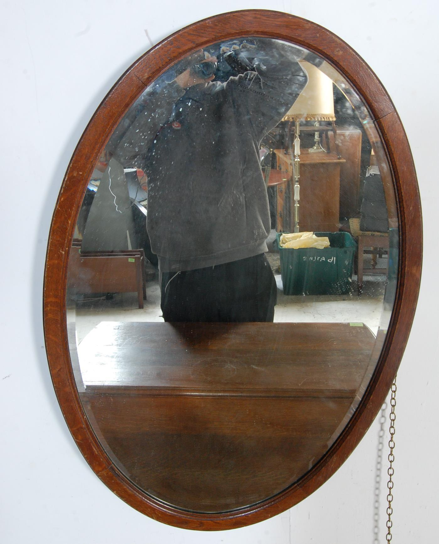 1940'S OAK DROP LEAF DINING TABLE AND OVAL WALL MIRROR - Image 3 of 6